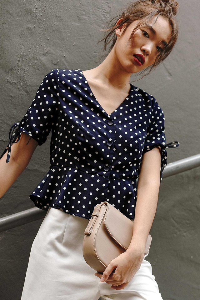 BRETON POLKA DOT TOP IN NAVY