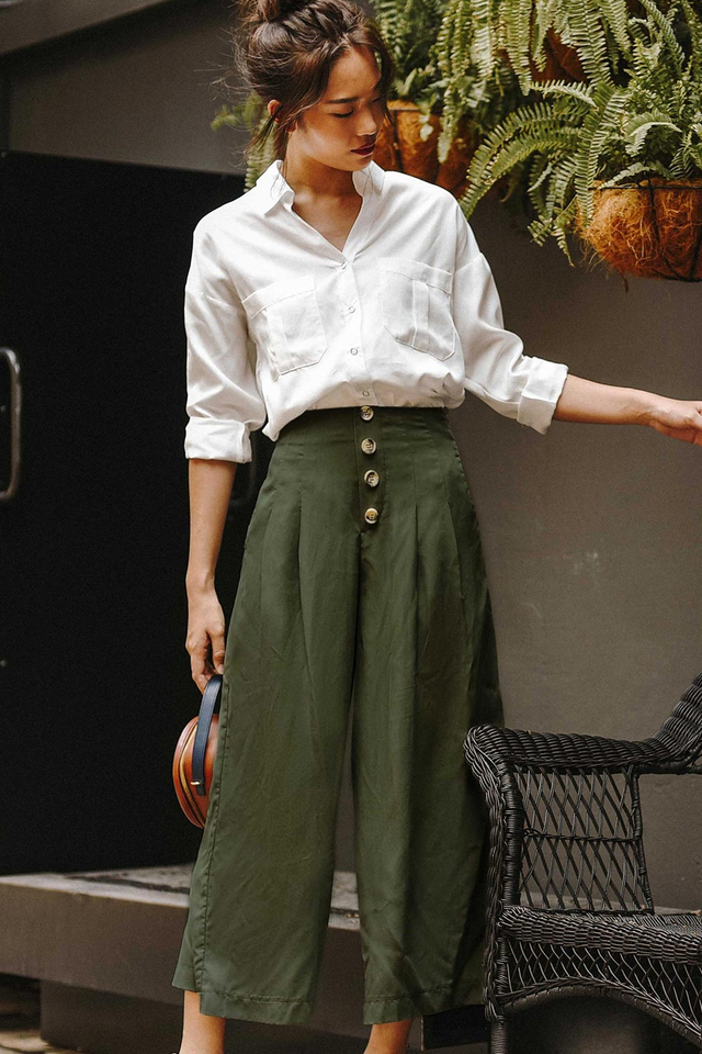 RIKO BUTTON CULOTTES IN MILITARY