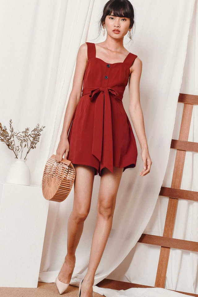 *RESTOCKED*  ZOEY BUTTON PLAYSUIT IN BRICK