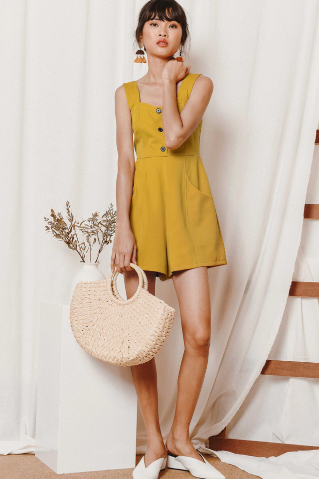 ZOEY BUTTON PLAYSUIT IN MUSTARD