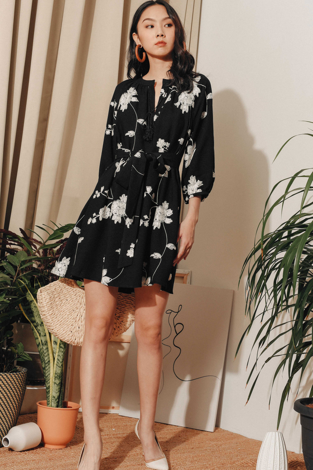 AIMEE EMBROIDERY DRESS IN BLACK