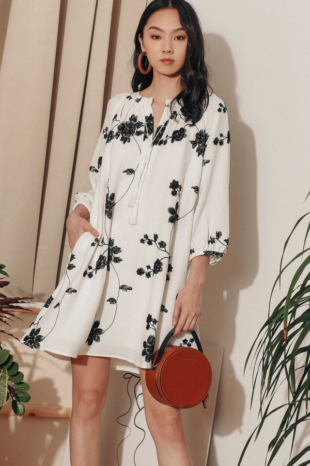 AIMEE EMBROIDERY DRESS IN WHITE