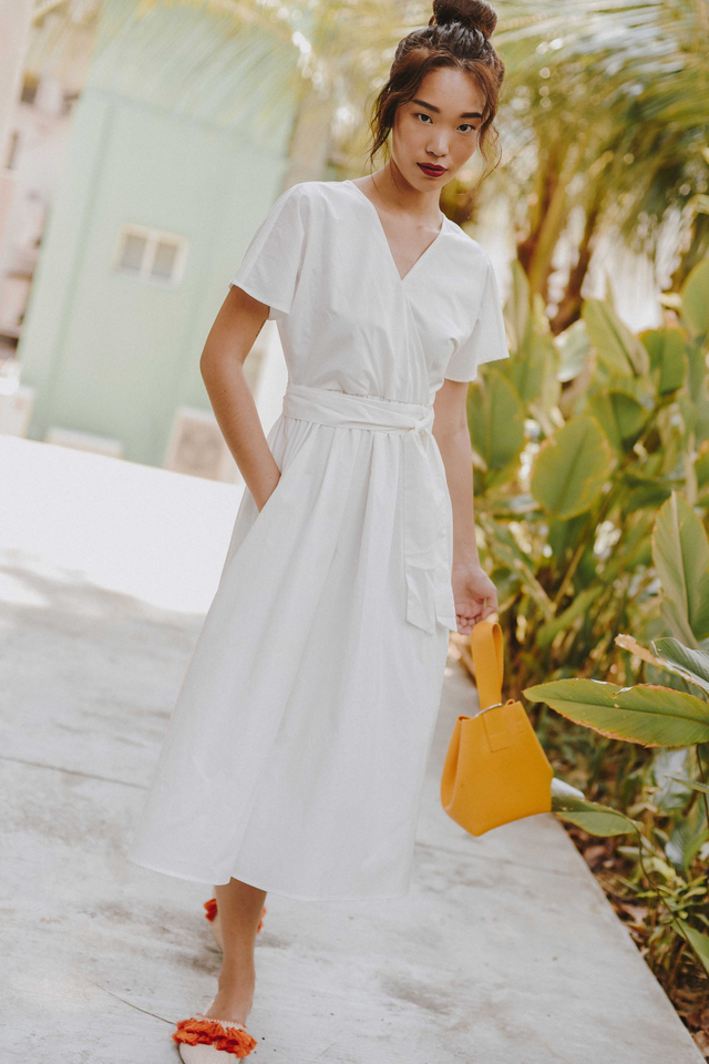 *RESTOCKED* COLLEEN WRAP MIDI IN WHITE