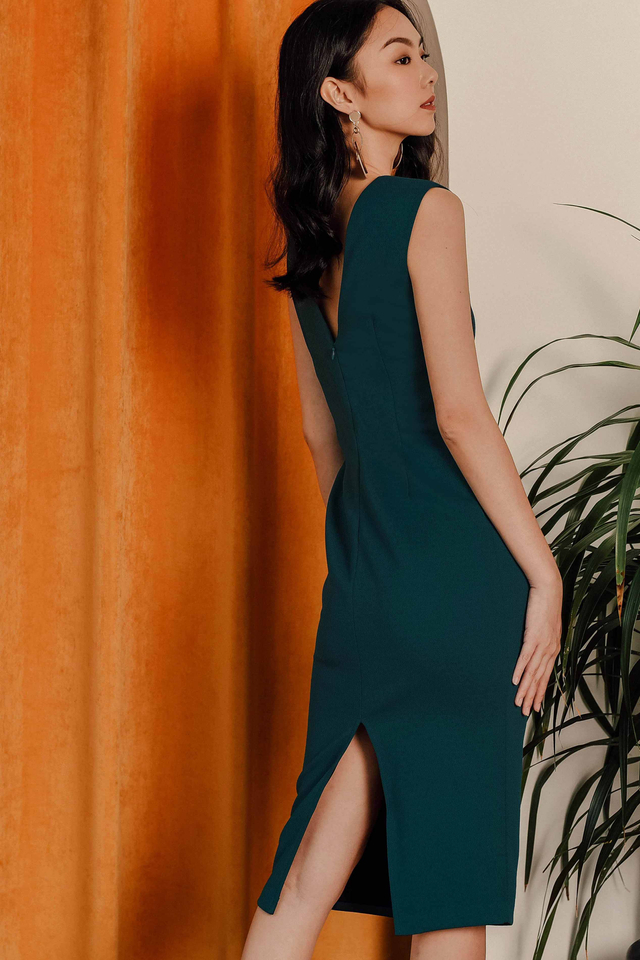 KIARA SHEATH MIDI IN TEAL MOSS