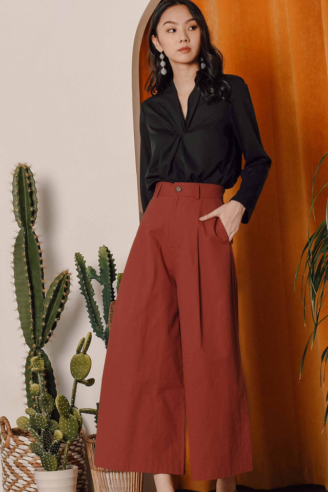 TIAGO WIDE LEG PANTS IN RUST BRICK