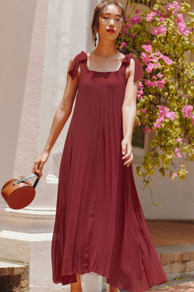 MONIQUE PLEAT MAXI IN DUSK ROSE