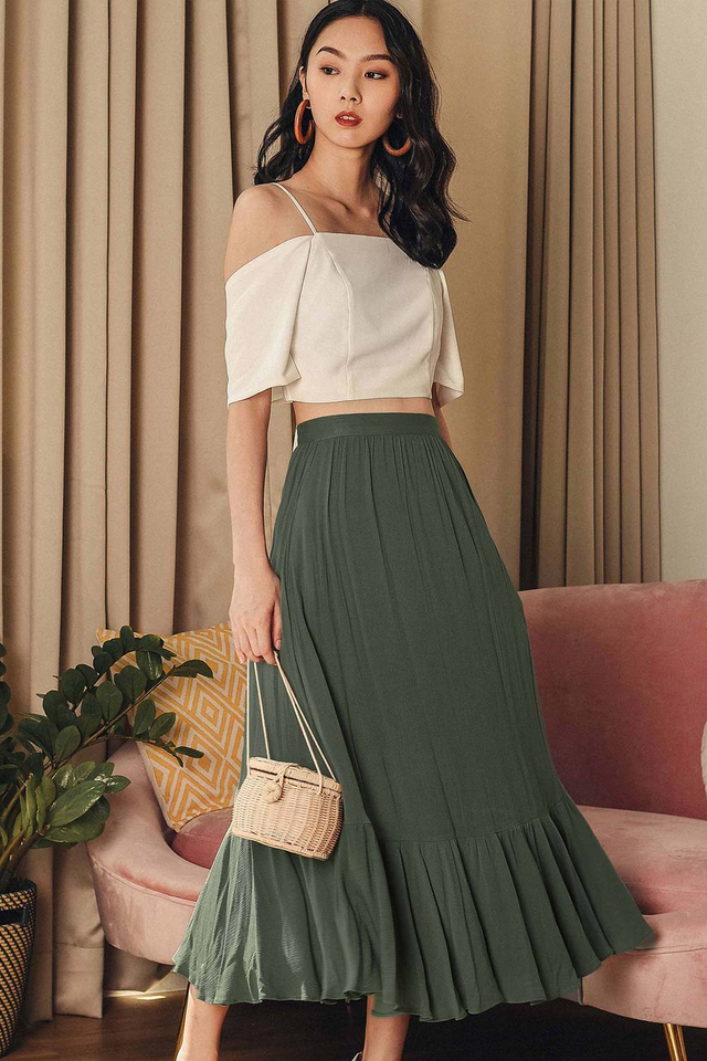 CERISE MAXI SKIRT IN OLIVE