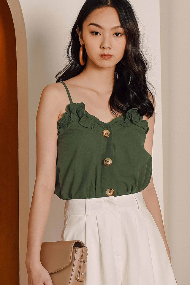 RANI BUTTON TOP IN OLIVE