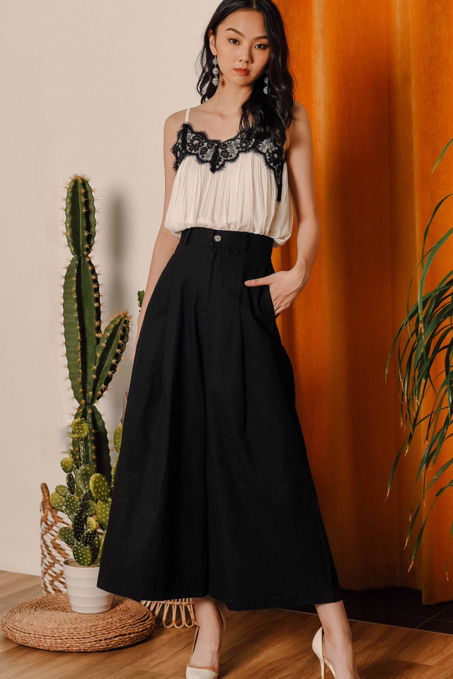 TIAGO WIDE LEG PANTS IN BLACK