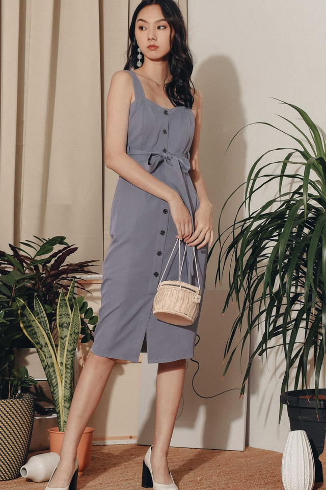 ZOEY SHEATH MIDI IN DUSK PERIWINKLE