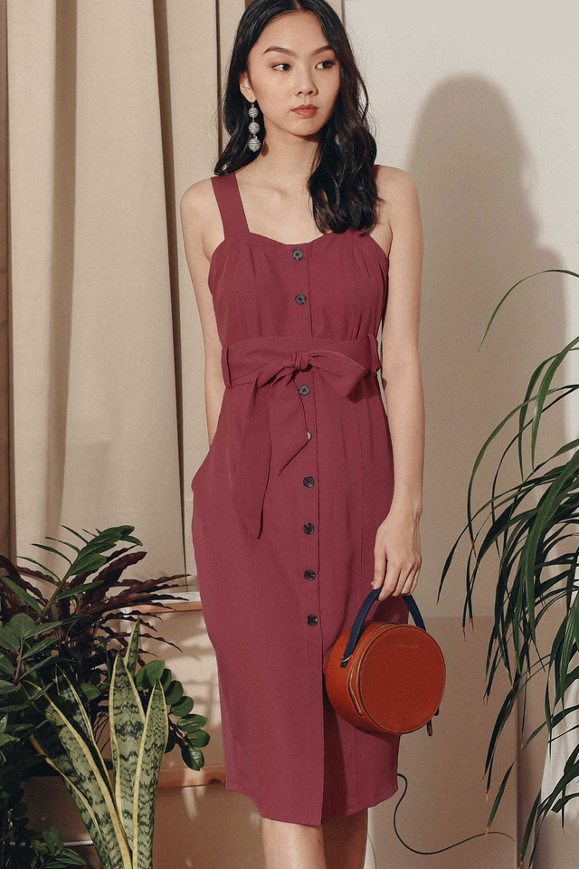 ZOEY SHEATH MIDI IN DUSK ROSE