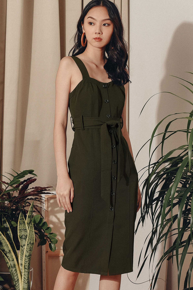 ZOEY SHEATH MIDI IN MILITARY