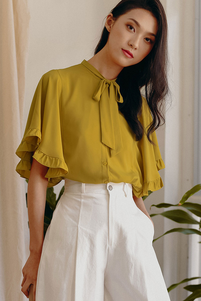 BIANCA CAPE BLOUSE IN OLIVE MUSTARD