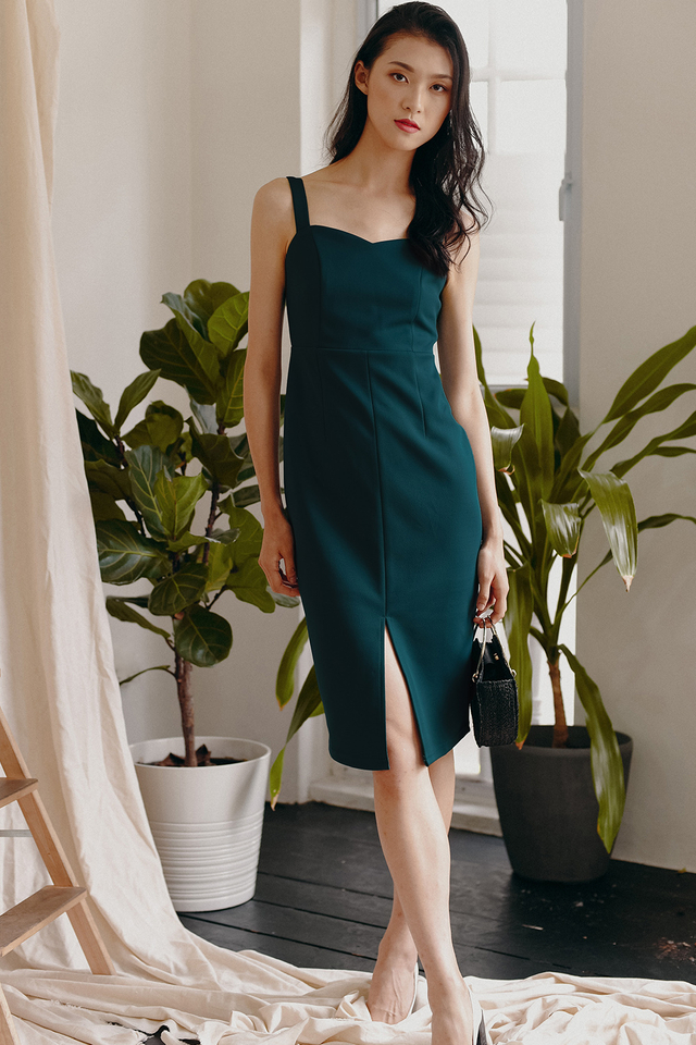 IDRIS SLIT MIDI IN TEAL