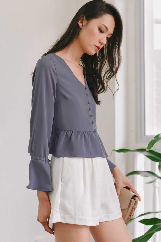 JESSE BUTTON TOP IN DUSK PERIWINKLE