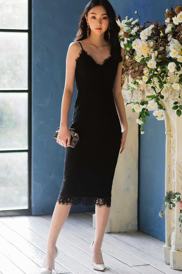 *RESTOCKED* MARQUIS LACE SHEATH MIDI IN BLACK