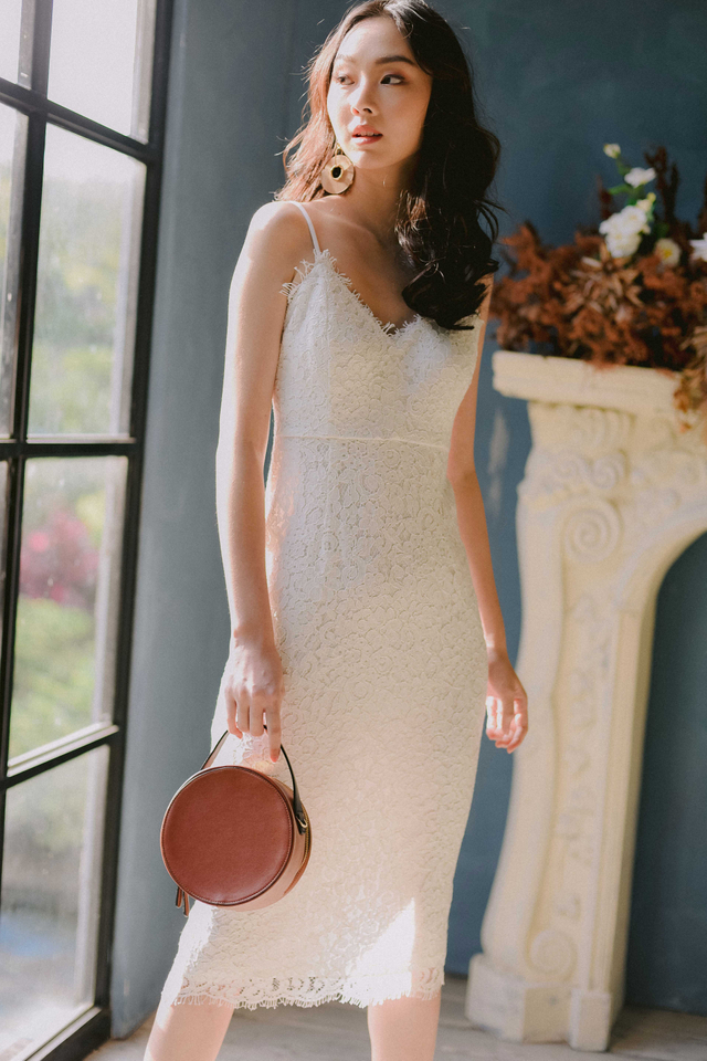 *RESTOCKED* MARQUIS LACE SHEATH MIDI IN WHITE