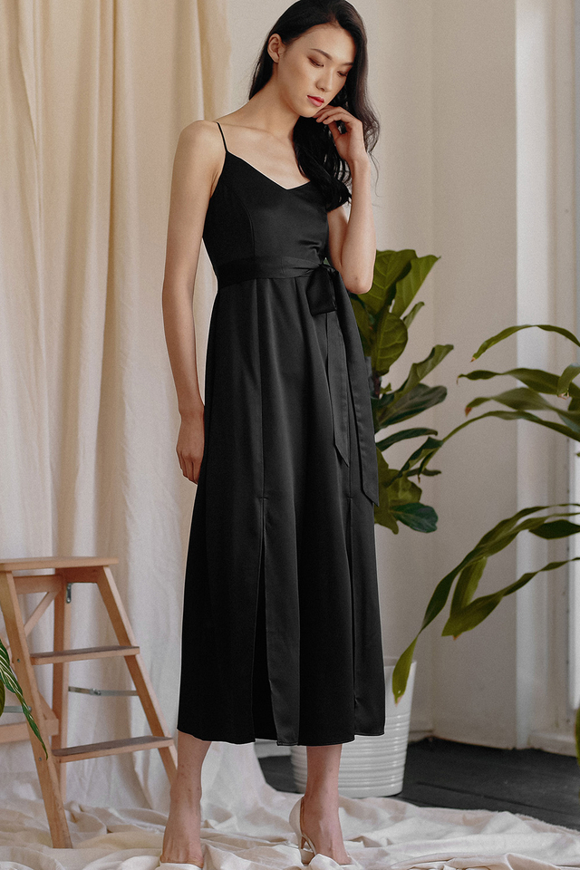 MICHEL SATIN JUMPSUIT IN BLACK