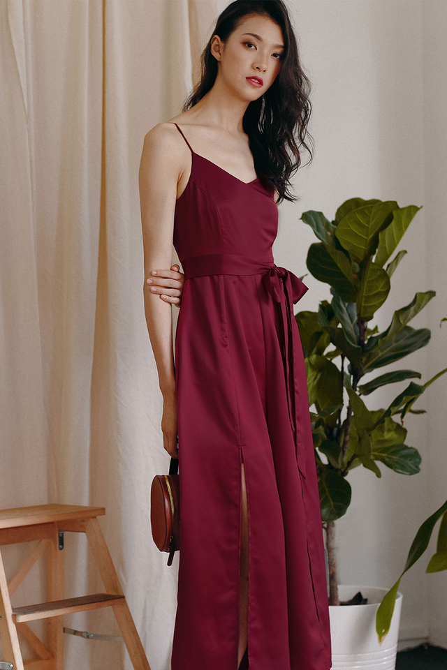 MICHEL SATIN JUMPSUIT IN MAGENTA