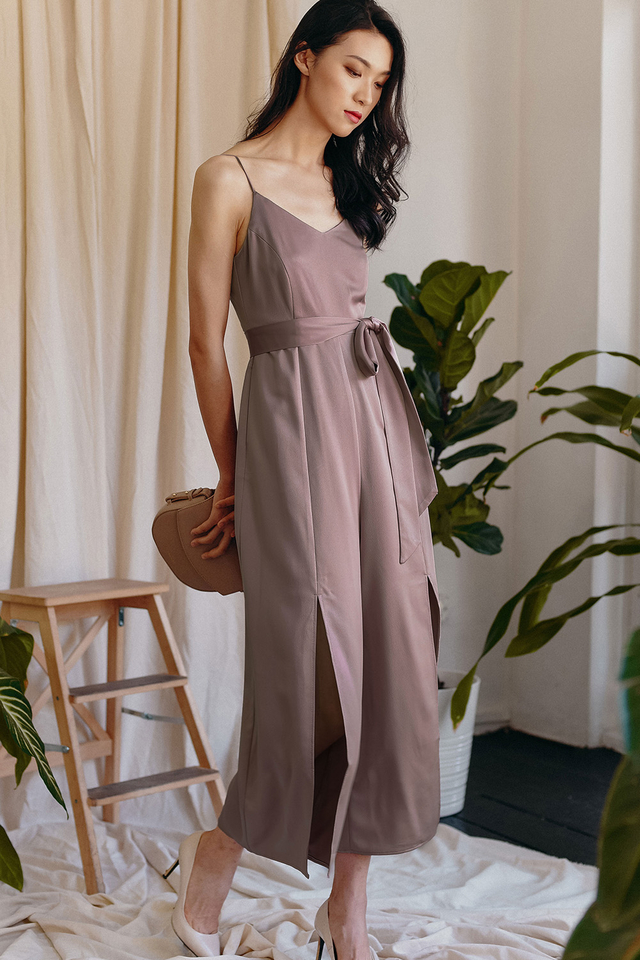 MICHEL SATIN JUMPSUIT IN MAUVE PINK