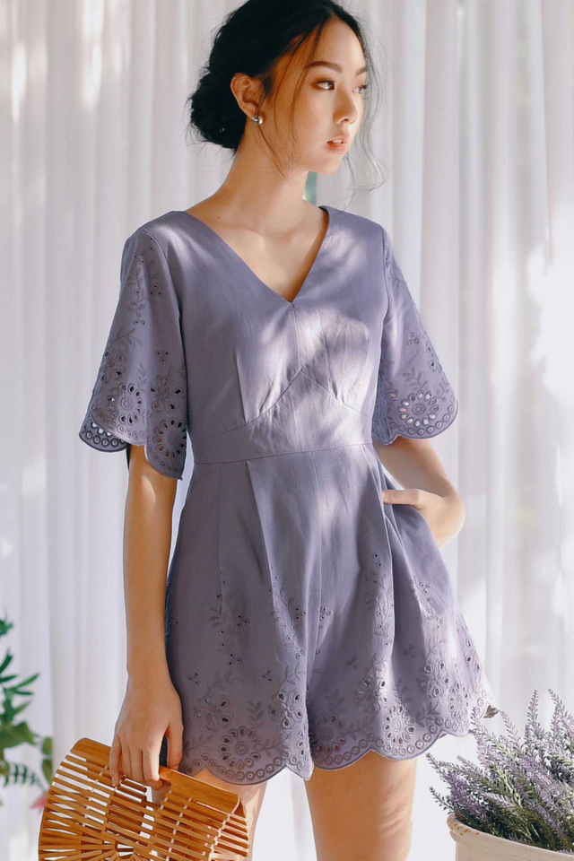 ATHENS PLAYSUIT IN DUSK PERIWINKLE (XS)