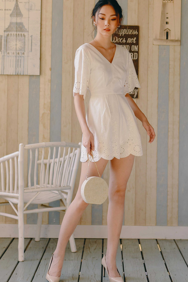 *RESTOCKED* ATHENS PLAYSUIT IN WHITE