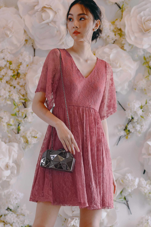 BELLAMY LACE DRESS IN ROSE