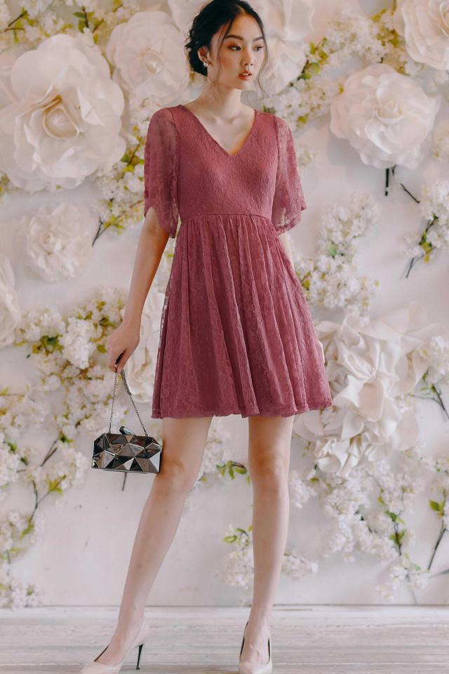 BELLAMY LACE DRESS IN ROSE