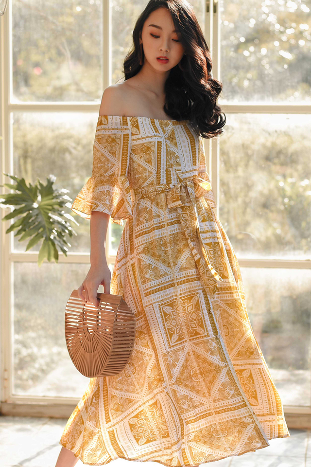 BOHEMIAN OFF SHOULDER MIDI IN MUSTARD