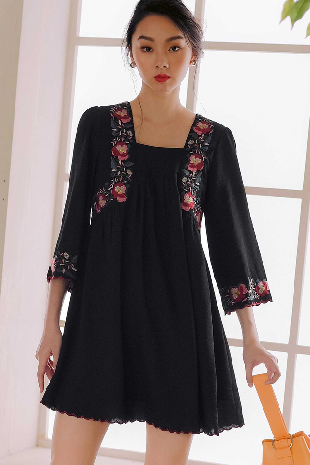*RESTOCKED* ELWOOD EMBROIDERY DRESS IN BLACK