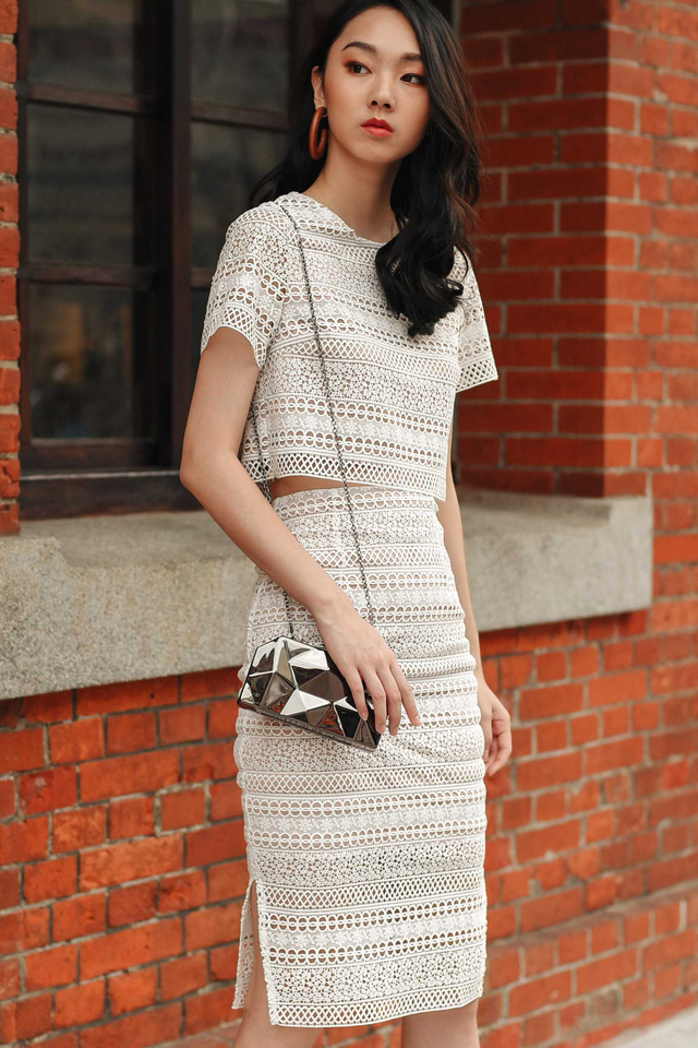 GAIA SLIT MIDI IN WHITE
