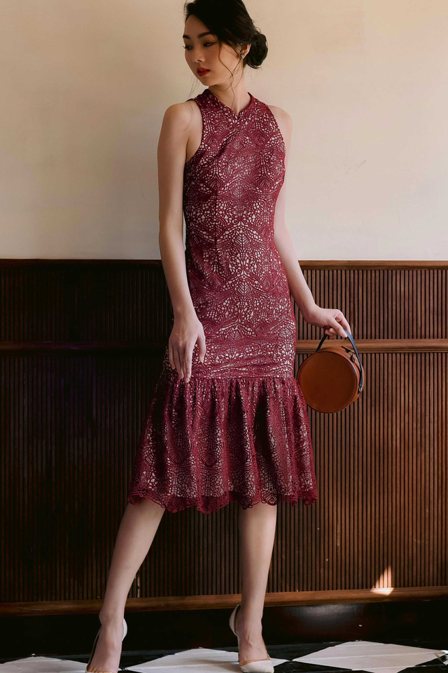 ORIENTAL CROCHET MIDI IN OXBLOOD