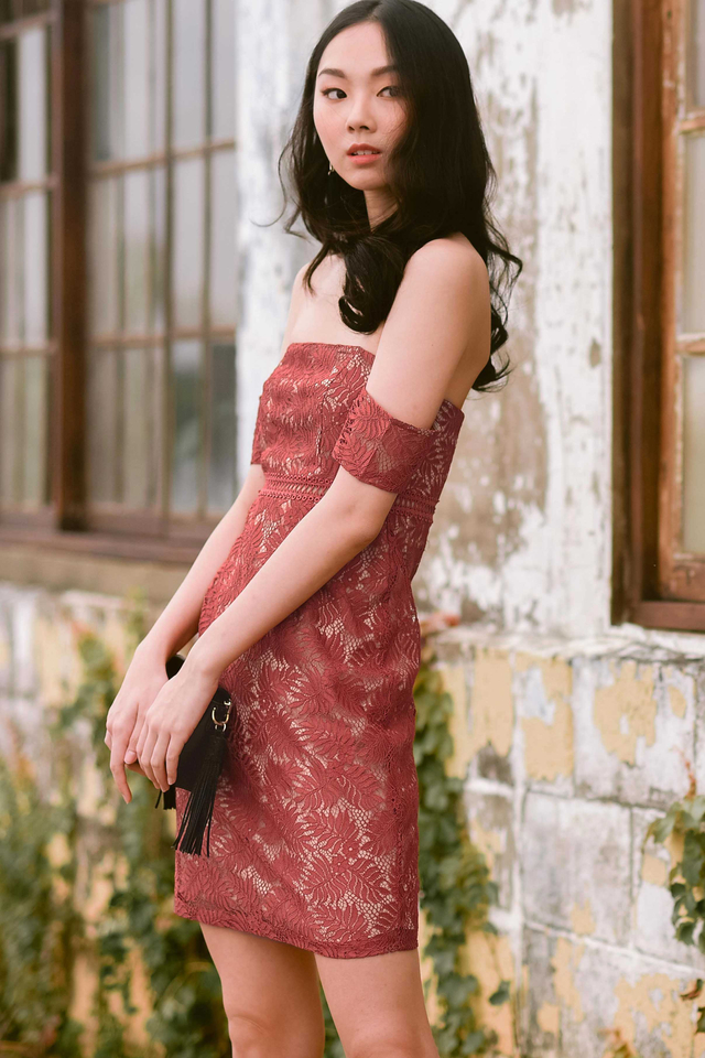 SIMONE CROCHET DRESS IN TERRA ROSE