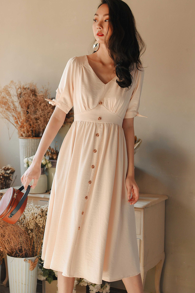 *RESTOCKED* SONIA LINEN MIDI IN CREAM