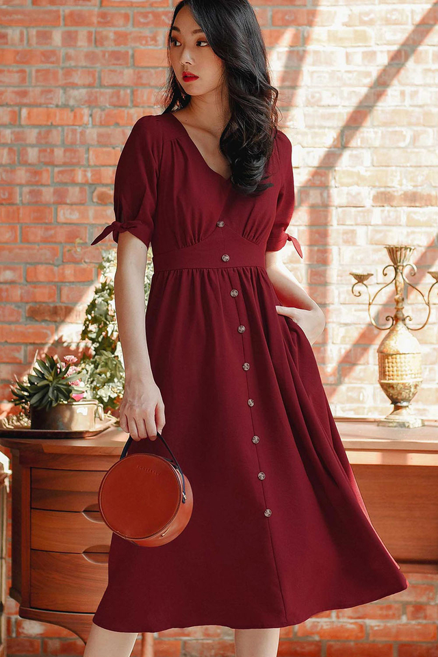 *RESTOCKED* SONIA LINEN MIDI IN RED