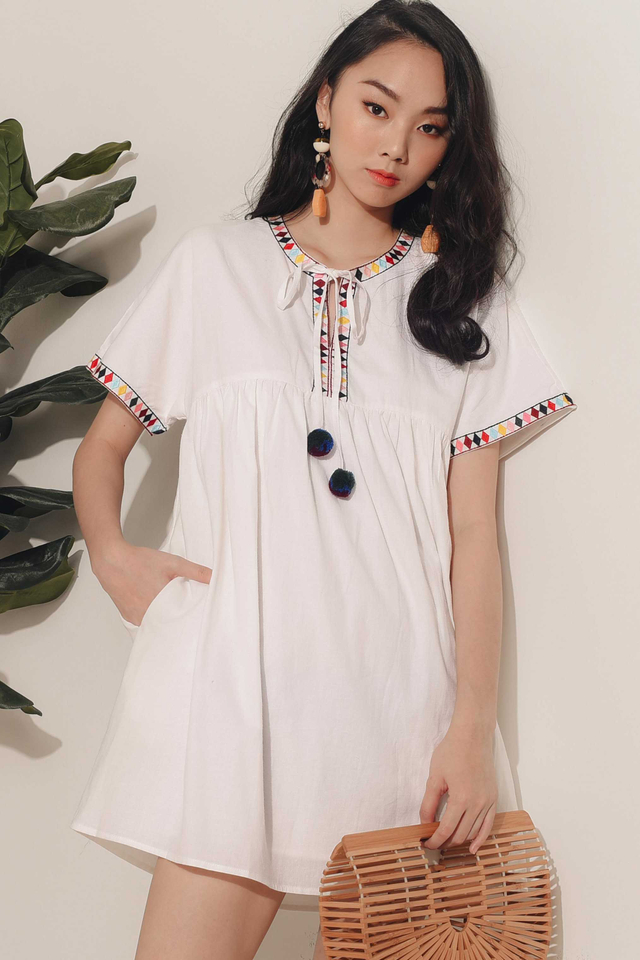 *RESTOCKED* EMBROIDERY POM POM DRESS IN WHITE