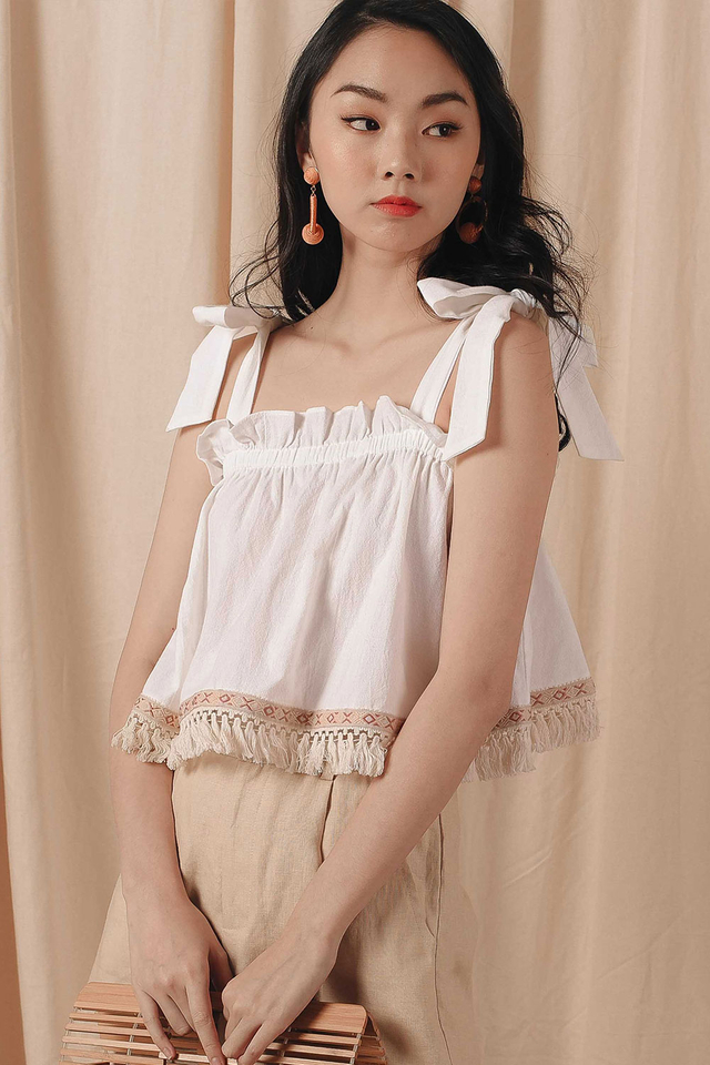 FRINGE BABYDOLL TOP IN WHITE