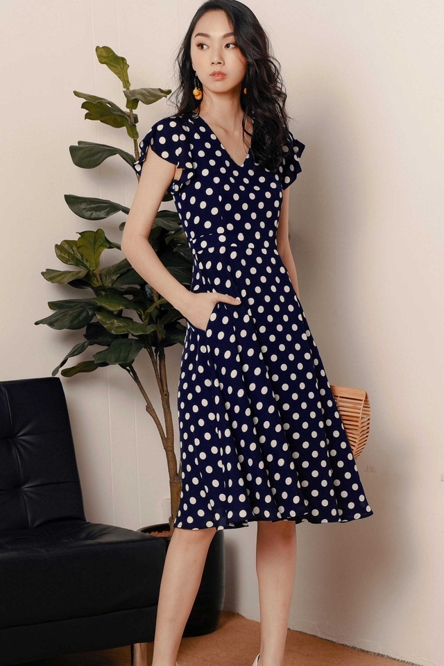 JONAS POLKA DOT MIDI IN NAVY