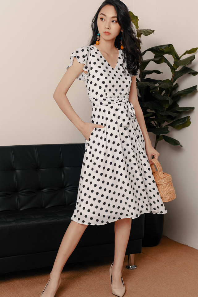 JONAS POLKA DOT MIDI IN WHITE