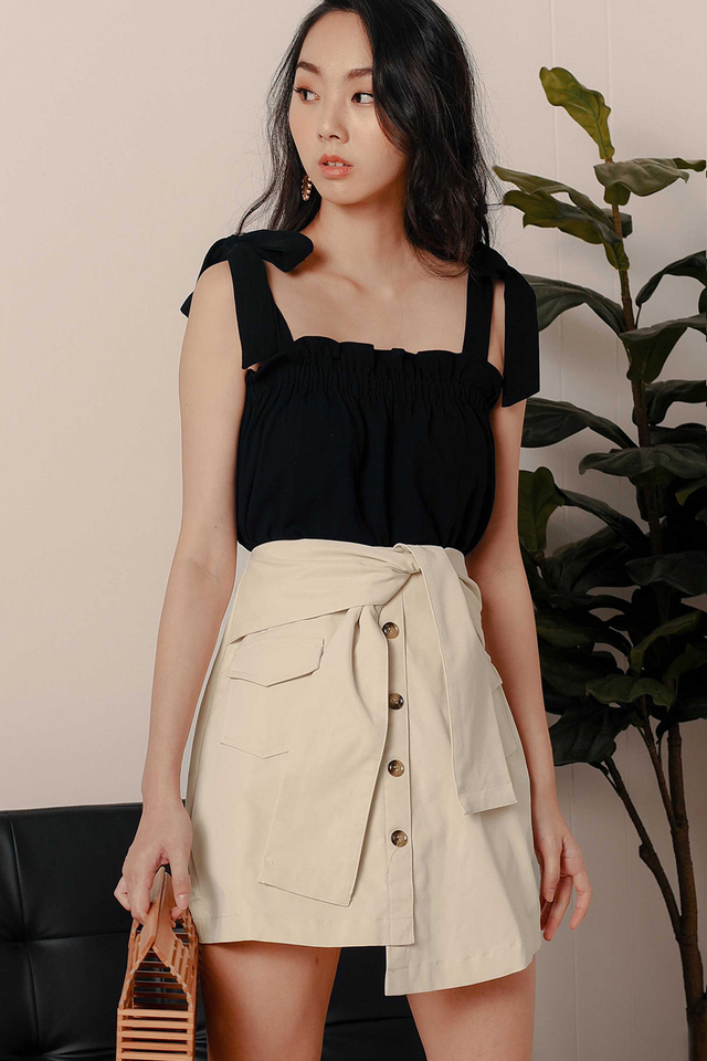 *RESTOCKED* LARA POCKET SASH SKIRT IN BEIGE