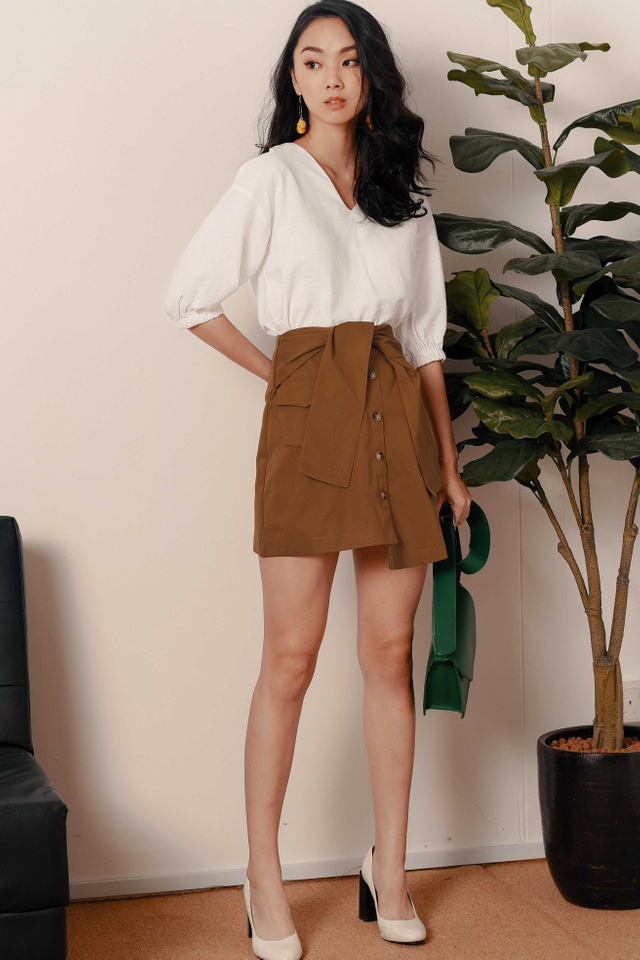 *RESTOCKED* LARA POCKET SASH SKIRT IN TOFFEE