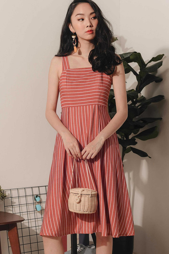 MACKENZIE STRIPED MIDI IN TERRA ROSE