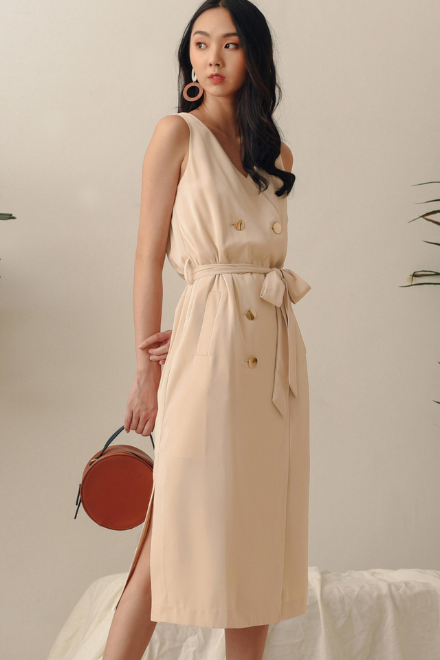 ALLY TRENCH MIDI IN ALMOND