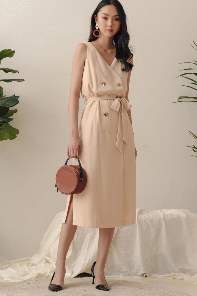*BACKORDER 2* ALLY TRENCH MIDI IN ALMOND