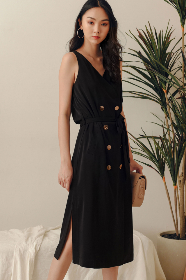 *BACKORDER 2* ALLY TRENCH MIDI IN BLACK