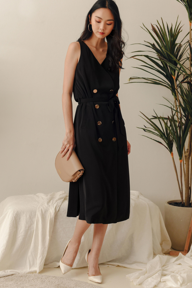 *RESTOCKED* ALLY TRENCH MIDI IN BLACK