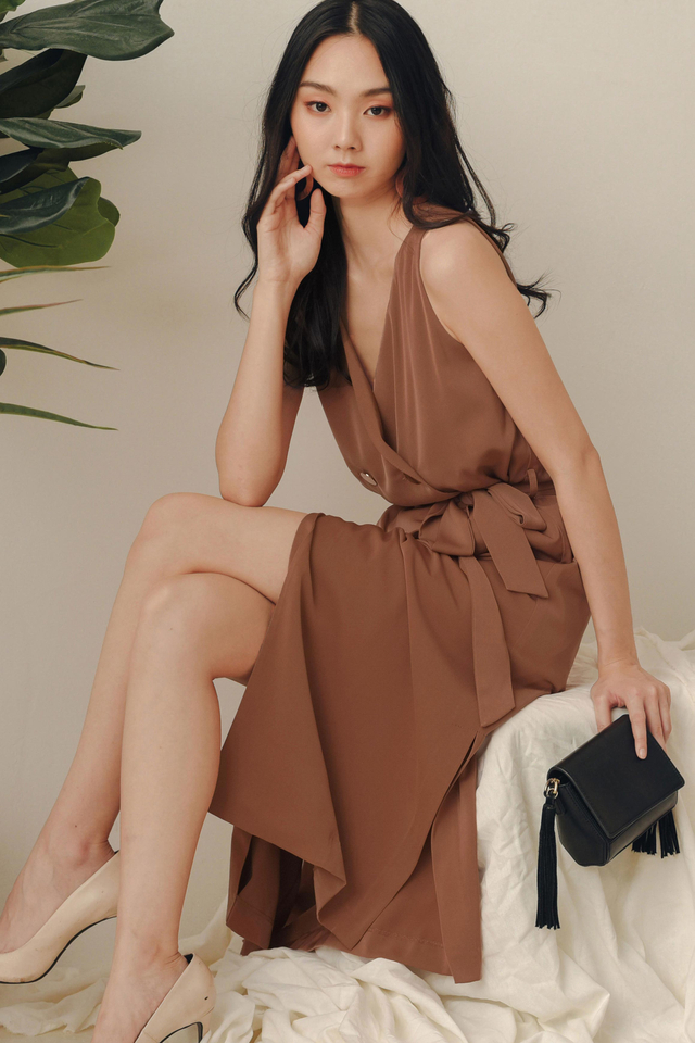 *RESTOCKED* ALLY TRENCH MIDI IN CARAMEL