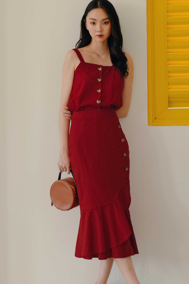 ELLERY BUTTON TOP IN RED