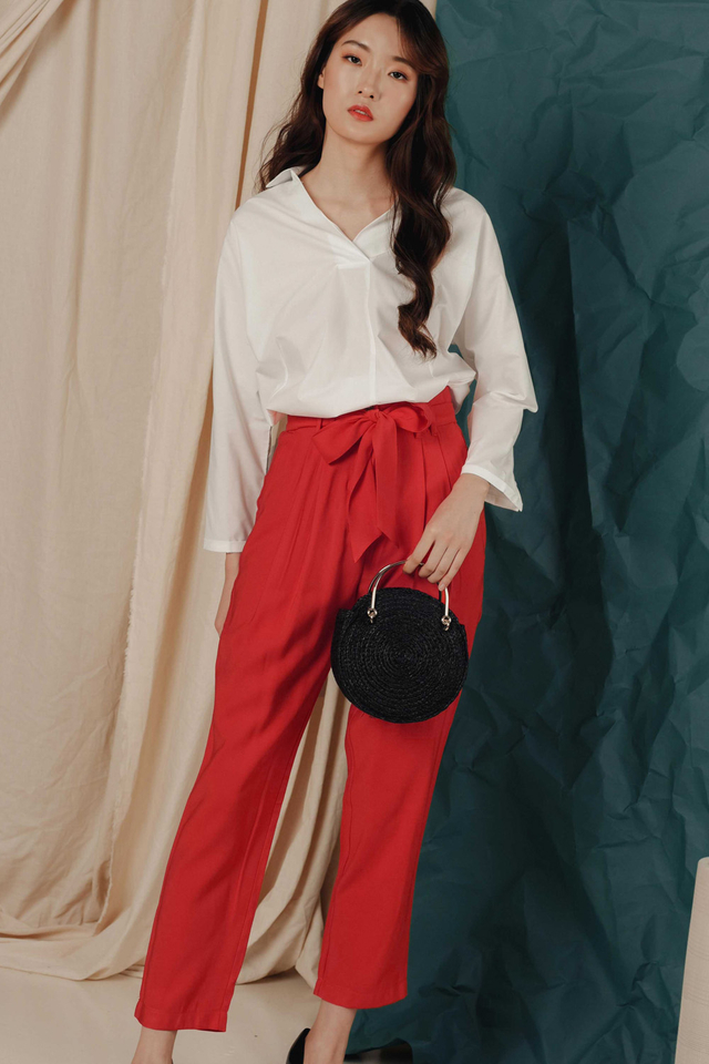 ALONSO SASH PANTS IN SCARLET