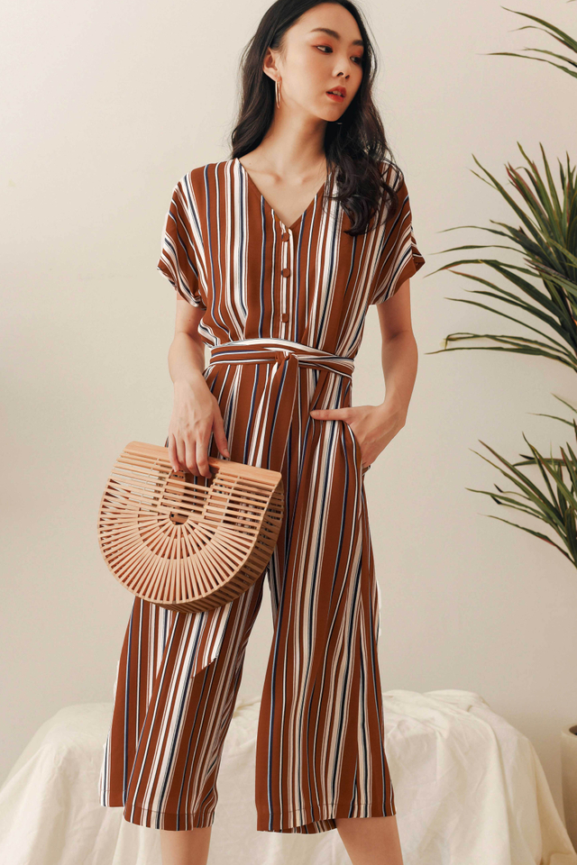 LUNA SASH JUMPSUIT IN BRICK